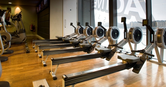 Rowing-at-Virgin-Active-Health-Club-Canary-Riverside